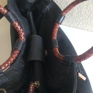 Fossil Bags - Rare Vintage fossil Pebble Leather Ring Handbag